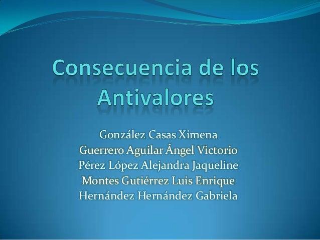 González Casas XimenaGuerrero Aguilar Ángel VictorioPérez López Alejandra Jaqueline Montes Gutiérrez Luis EnriqueHernández...