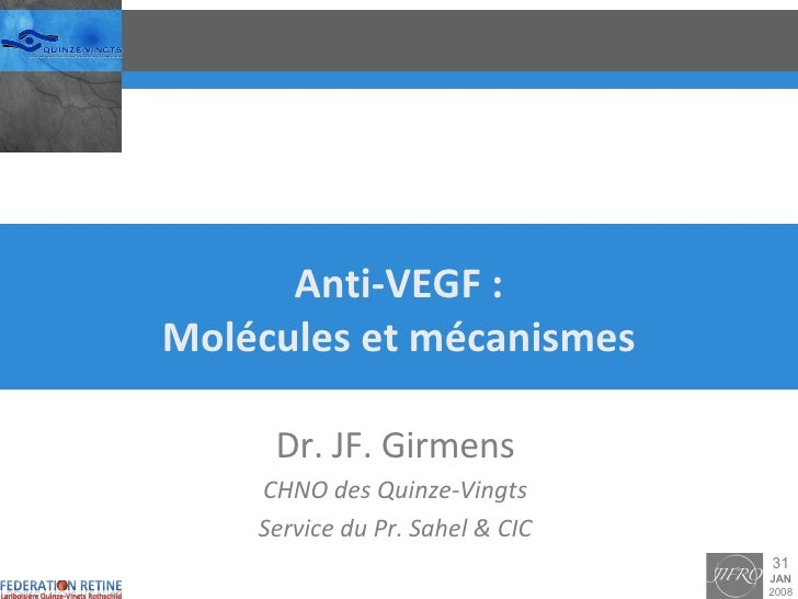 Anti-VEGF : Molécules et mécanismes Dr. JF. Girmens CHNO des Quinze-Vingts Service du Pr. Sahel & CIC