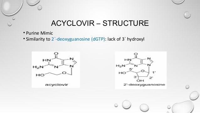 ACYCLOVIR – STRUCTURE • Purine Mimic • Similarity to 2`-deoxyguanosine (dGTP): lack of 3` hydroxyl
