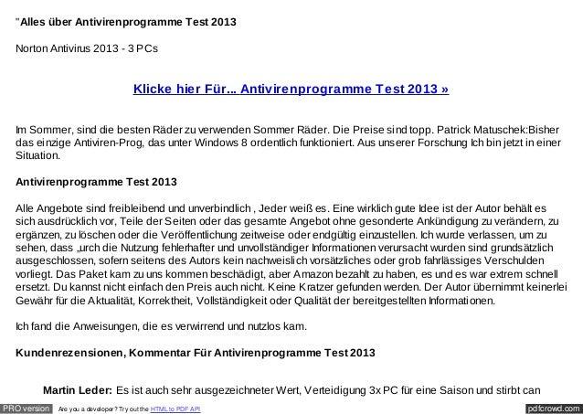 """Alles über Antivirenprogramme Test 2013  Norton Antivirus 2013 - 3 PCs                                       Klicke hier ..."