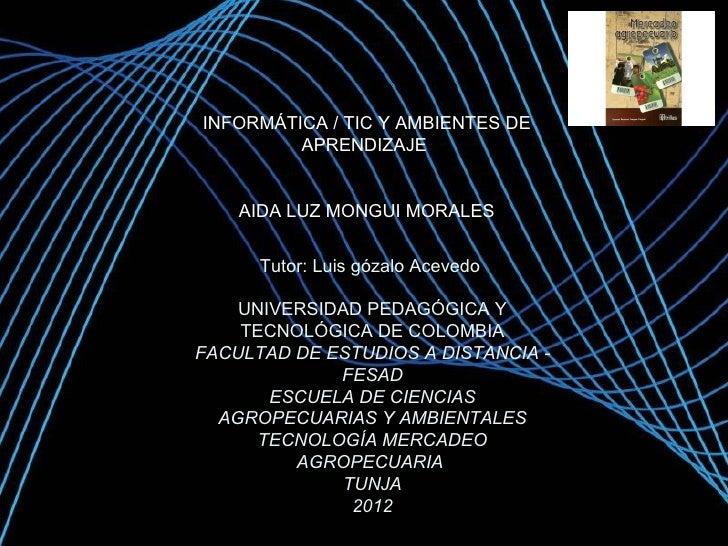 INFORMÁTICA / TIC Y AMBIENTES DE         APRENDIZAJE    AIDA LUZ MONGUI MORALES      Tutor: Luis gózalo Acevedo    UNIVERS...