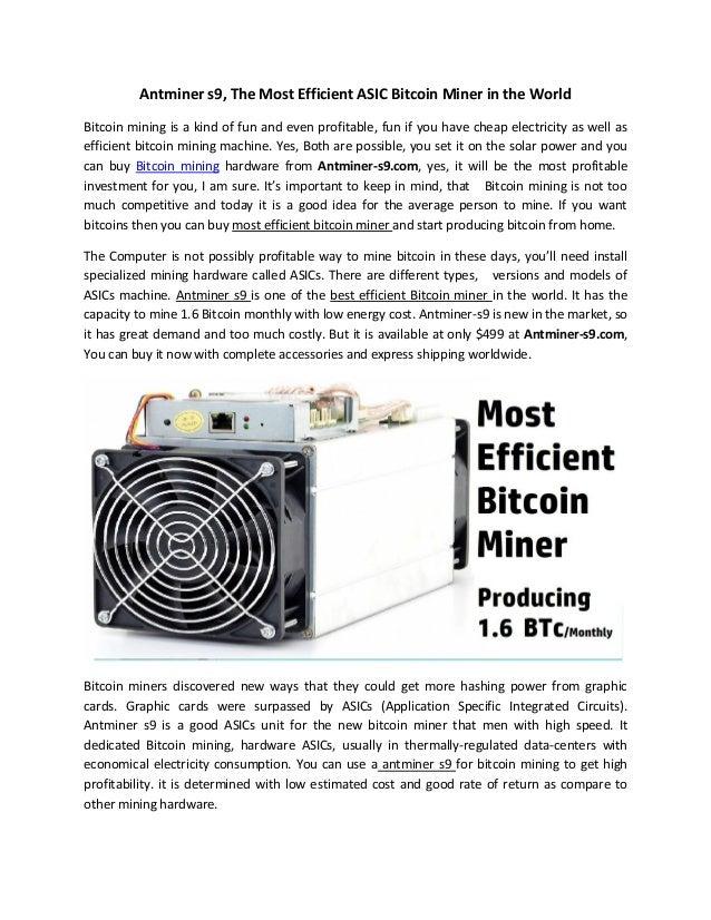worlds most efficient bitcoin miner
