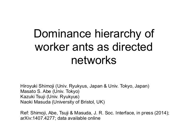 Dominance hierarchy of worker ants as directed networks Hiroyuki Shimoji (Univ. Ryukyus, Japan & Univ. Tokyo, Japan) Masat...