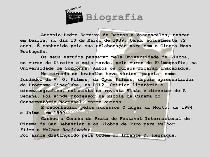 Biografia<br />António-Pedro Saraiva de Barros e Vasconcelos, nasceu em Leiria, no dia 10 de Março de 1939, tendo actualm...
