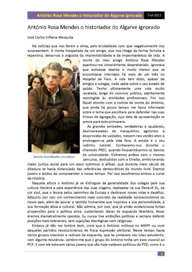 António Rosa Mendes o historiador do Algarve ignorado 7-VI-2013  António Rosa Mendes o historiador do Algarve ignorado  Jo...