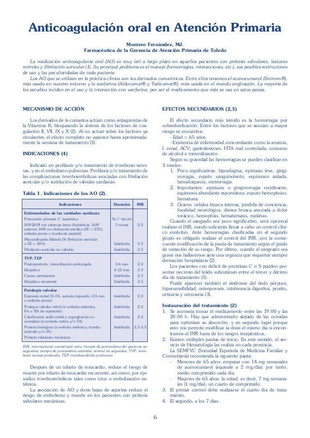 6 Anticoagulación oral en Atención Primaria Montero Fernández, MJ. Farmacéutica de la Gerencia de Atención Primaria de Tol...