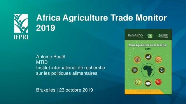 Africa Agriculture Trade Monitor 2019 Antoine Bouët MTID Institut international de recherche sur les politiques alimentair...