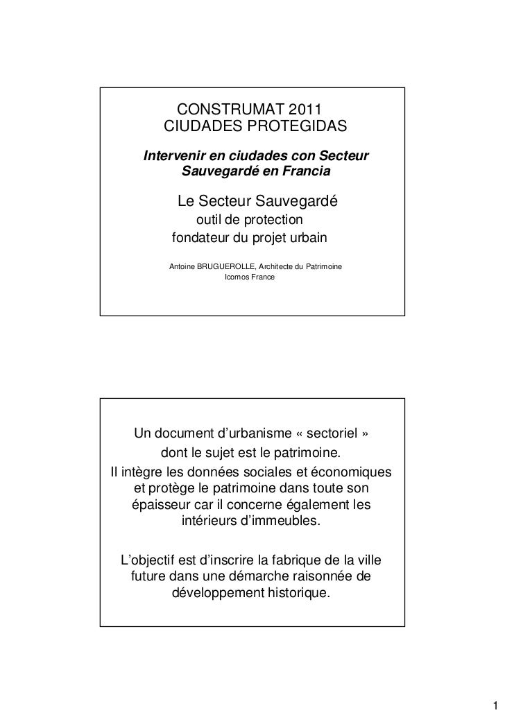 CONSTRUMAT 2011         CIUDADES PROTEGIDAS     Intervenir en ciudades con Secteur           Sauvegardé en Francia        ...