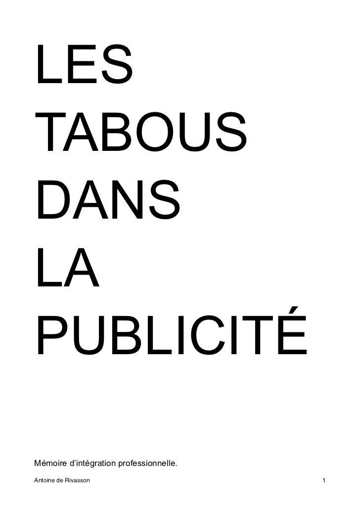 LESTABOUSDANSLAPUBLICITÉMémoire d'intégration professionnelle.Antoine de Rivasson!                     1
