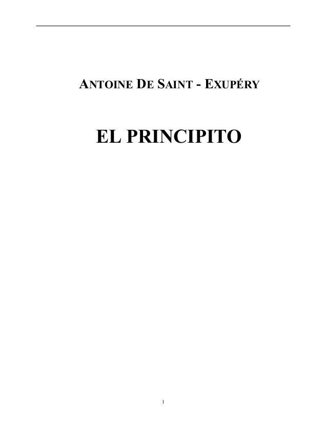 ANTOINE DE SAINT - EXUPÉRY EL PRINCIPITO 1