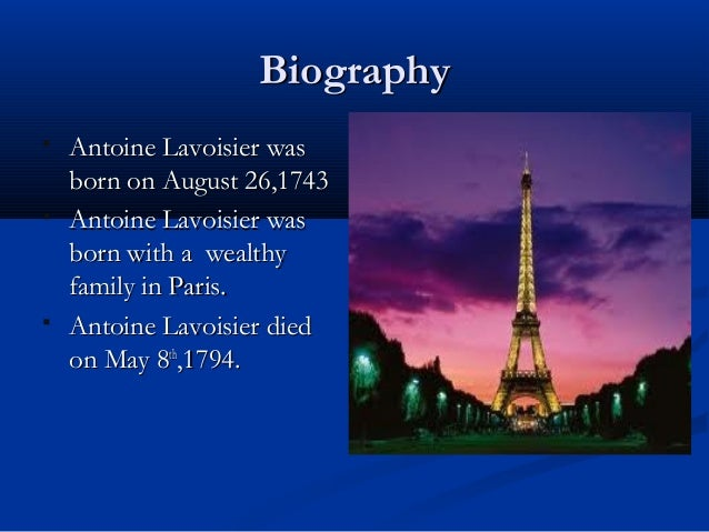 Lavoisier Antoine life and biography