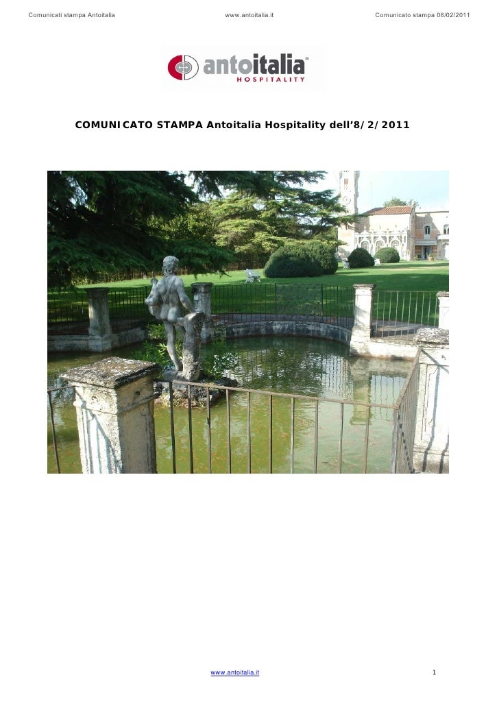 Comunicati stampa Antoitalia             www.antoitalia.it     Comunicato stampa 08/02/2011               COMUNICATO STAMP...