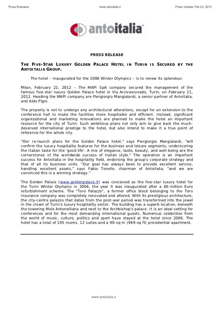 Press Releases                                        www.antoitalia.it                      Press release Feb 22, 2012   ...