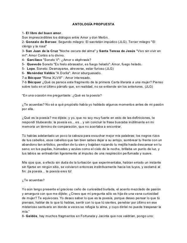 ANTOLOGÍA PROPUESTA1- El libro del buen amor.Son imprescindibles los diálogos entre Amor y don Melón.2- Gonzalo de Berceo:...