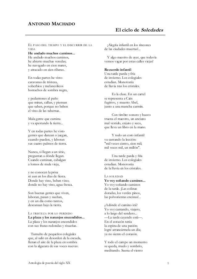 ANTONIO MACHADO                                                   El ciclo de SoledadesEL PASO DEL TIEMPO Y EL DISCURRIR D...