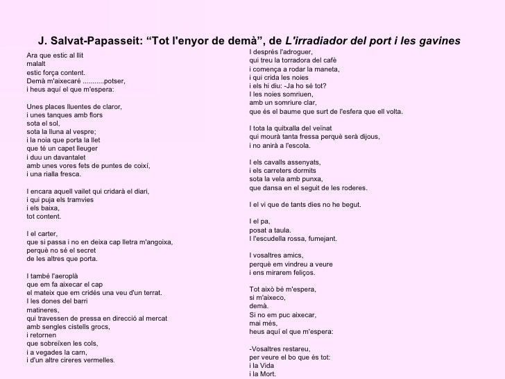 """J. Salvat-Papasseit: """"Tot l'enyor de demà"""", de  L'irradiador del port i les gavines  <ul><li>Ara que estic al llit </li></..."""