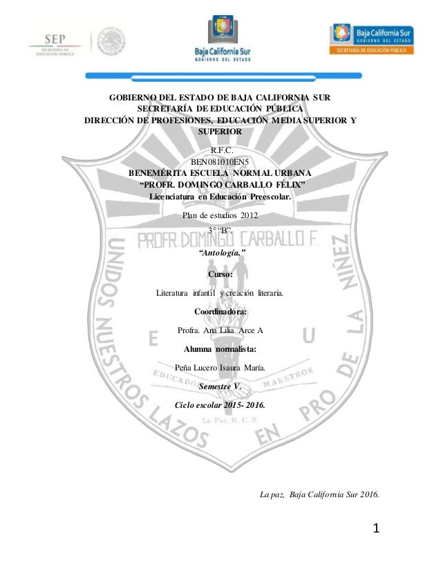 1 GOBIERNO DEL ESTADO DE BAJA CALIFORNIA SUR SECRETARÍA DE EDUCACIÓN PÚBLICA DIRECCIÓN DE PROFESIONES, EDUCACIÓN MEDIA SUP...