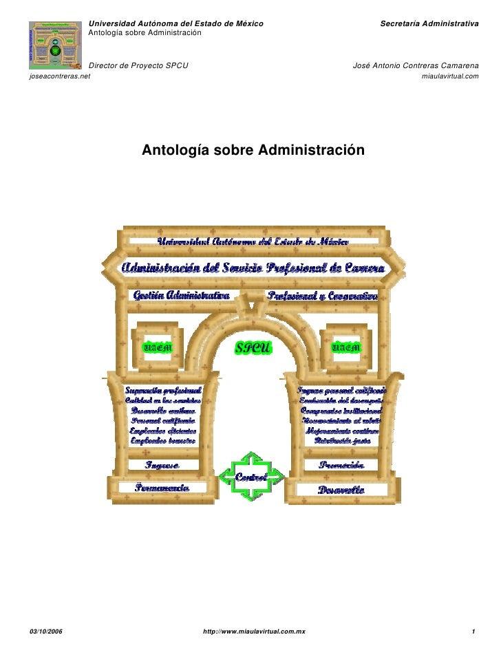 Universidad Autónoma del Estado de México                           Secretaría Administrativa                 Antología so...