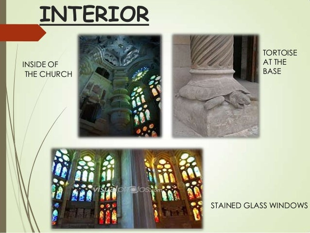 INTERIOR INSIDE OF THE CHURCH  TORTOISE AT THE BASE  STAINED GLASS WINDOWS