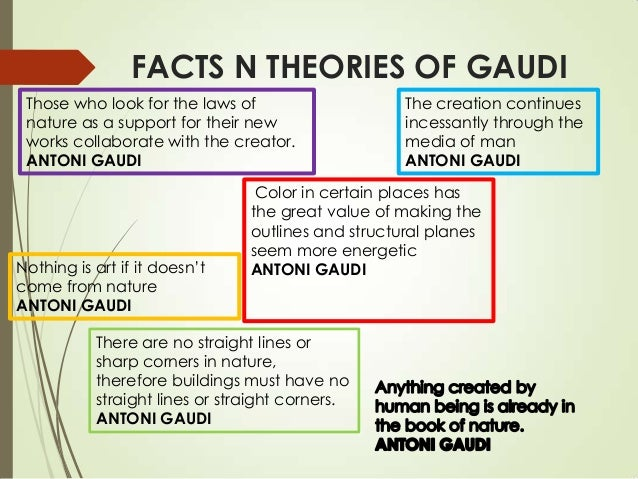 FACTS N THEORIES OF GAUDI Those who look for the laws of nature as a support for their new works collaborate with the crea...