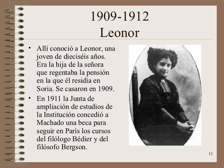 1909-1912 Leonor <ul><li>Allí conoció a Leonor, una joven de dieciséis años. Era la hija de la señora que regentaba la pen...