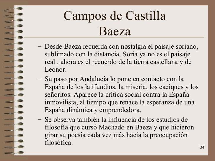 Campos de Castilla Baeza <ul><ul><li>Desde Baeza recuerda con nostalgia el paisaje soriano, sublimado con la distancia. So...