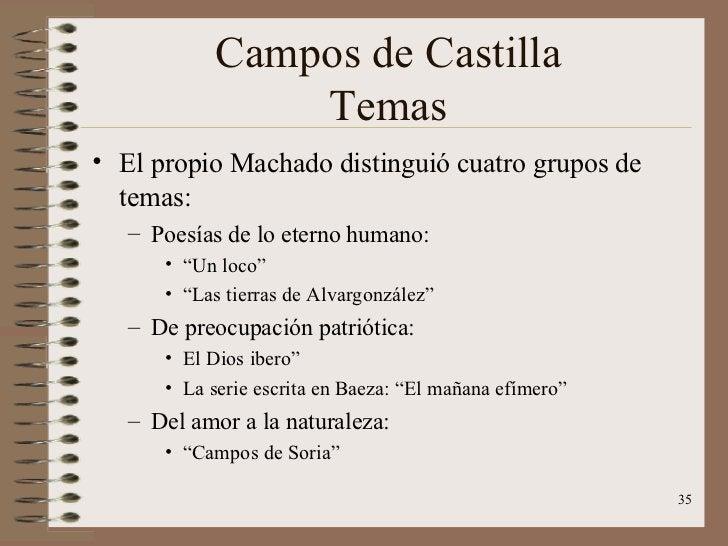 Campos de Castilla Temas <ul><li>El propio Machado distinguió cuatro grupos de temas: </li></ul><ul><ul><li>Poesías de lo ...