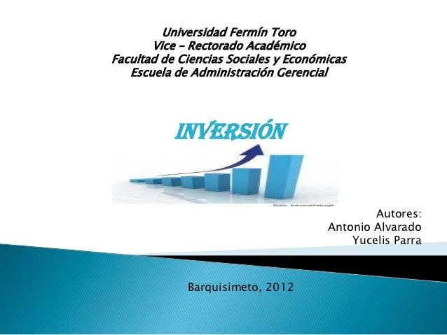Universidad Fermín Toro       Vice – Rectorado AcadémicoFacultad de Ciencias Sociales y Económicas   Escuela de Administra...