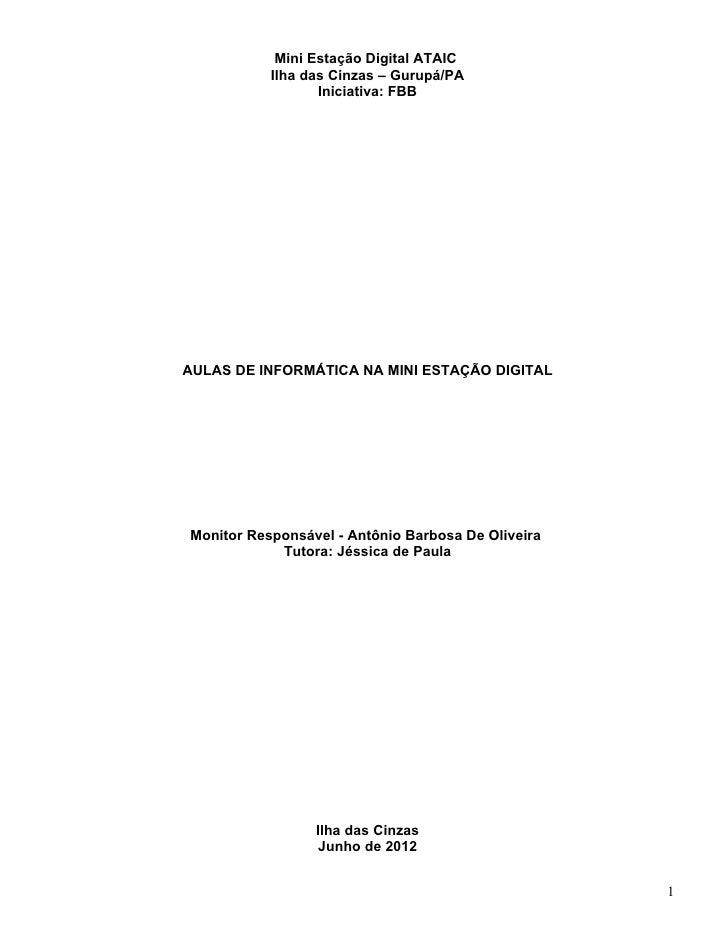 Mini Estação Digital ATAIC           Ilha das Cinzas – Gurupá/PA                  Iniciativa: FBBAULAS DE INFORMÁTICA NA M...