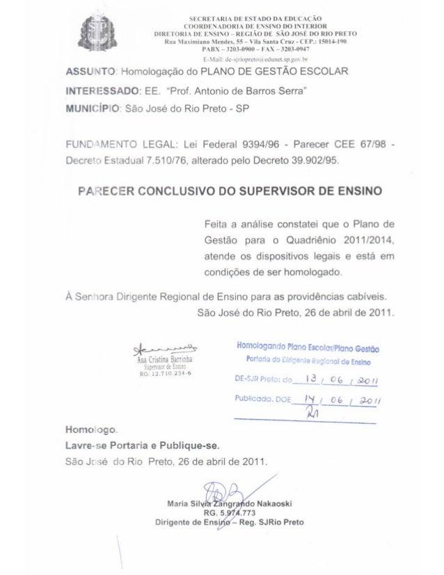Plano Gestão Prof Antonio de B Serra