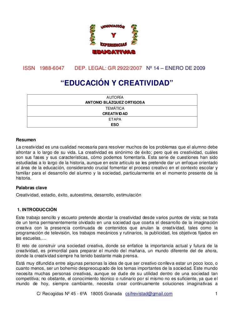 """ISSN 1988-6047             DEP. LEGAL: GR 2922/2007 Nº 14 – ENERO DE 2009                       """"EDUCACIÓN Y CREATIVIDAD"""" ..."""