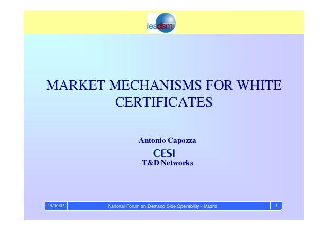 National Forum on Demand Side Operability - Madrid 119/10/05 MARKET MECHANISMS FOR WHITE CERTIFICATES Antonio Capozza T&D ...