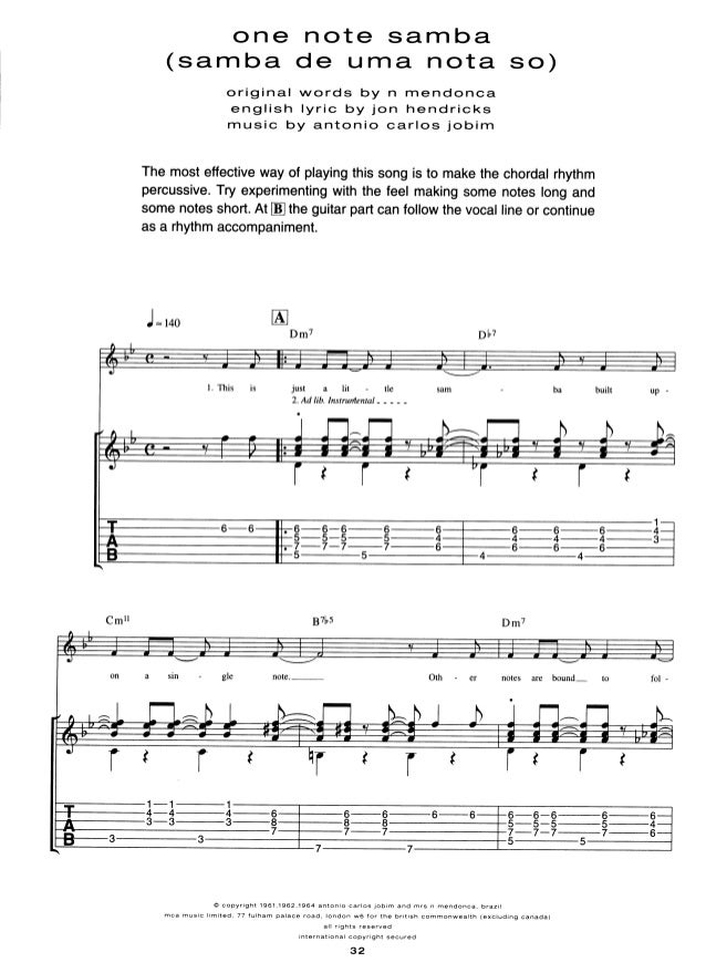 Antonio carlos jobim for guitar tab (incl.chords, melody line & lyric…