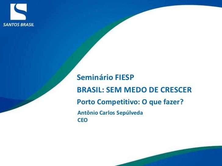 Seminário FIESP <br />BRASIL: SEM MEDO DE CRESCER<br />Porto Competitivo: O que fazer?<br />Antônio Carlos Sepúlveda<br />...