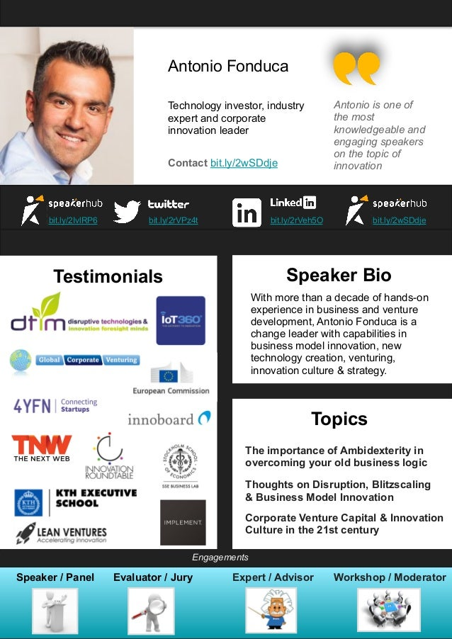 Antonio Fonduca Technology investor, industry expert and corporate innovation leader Contact bit.ly/2wSDdje bit.ly/2IvlRP6...