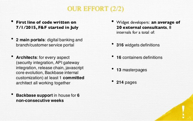 • First line of code written on 7/1/2015, F&F started in July • 2 main portals: digital banking and branch/customer servic...
