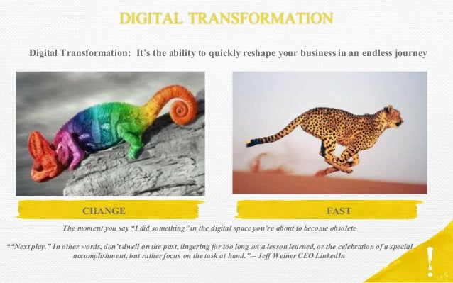 DIGITAL TRANSFORMATION CHANGE Digital Transformation: It's the ability to quickly reshape your business in an endless jour...
