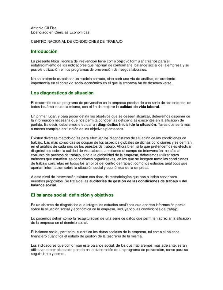 Antonio Gil FisaLicenciado en Ciencias EconómicasCENTRO NACIONAL DE CONDICIONES DE TRABAJOIntroducciónLa presente Nota Téc...