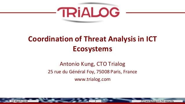 Coordination of Threat Analysis in ICT Ecosystems Antonio Kung, CTO Trialog 25 rue du Général Foy, 75008 Paris, France www...