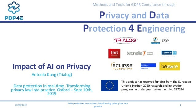 Methods and Tools for GDPR Compliance through Privacy and Data Protection 4 Engineering Impact of AI on Privacy Antonio Ku...