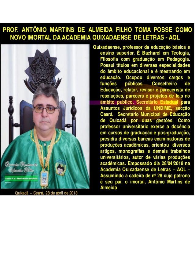 PROF. ANTÔNIO MARTINS DE ALMEIDA FILHO TOMA POSSE COMO NOVO IMORTAL DA ACADEMIA QUIXADAENSE DE LETRAS - AQL Quixadaense, p...