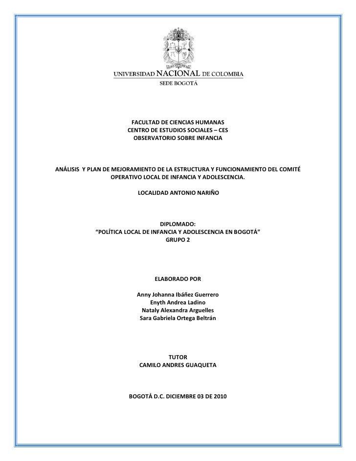 FACULTAD DE CIENCIAS HUMANAS                      CENTRO DE ESTUDIOS SOCIALES – CES                        OBSERVATORIO SO...