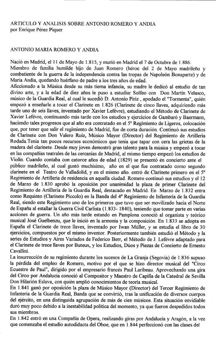 ARTICULO Y ANALISIS SOBRE ANTONIO ROMERO Y ANDIApor Enrique Perez PiquerNaci6 en Madrid, elll de Mayo de 1.815, y muri6 en...