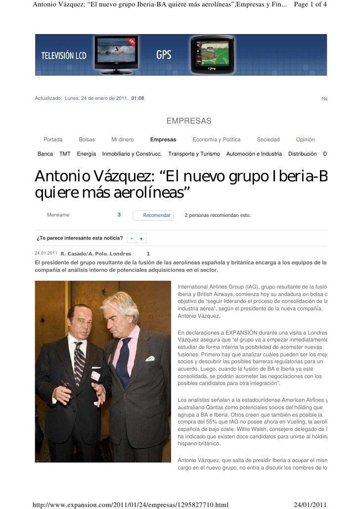 """Antonio Vázquez: """"El nuevo grupo Iberia-BA quiere más aerolíneas"""",Empresas y Fin... Page 1 of 4Actualizado: Lunes, 24 de e..."""