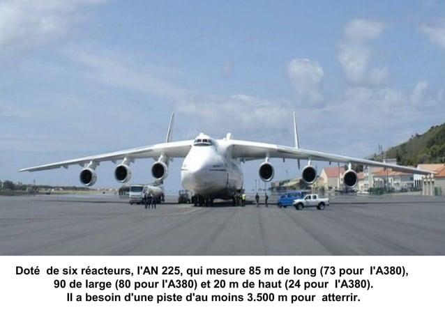 Doté de six réacteurs, lAN 225, qui mesure 85 m de long (73 pour lA380),      90 de large (80 pour lA380) et 20 m de haut ...