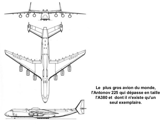 Le plus gros avion du monde,lAntonov 225 qui dépasse en taille   lA380 et dont il nexiste quun          seul exemplaire.