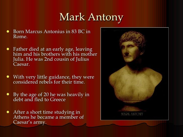 cleopatra and mark antony Discover facts about the egyptian ruler, cleopatra who is celebrated for her beauty and love affairs with julius caesar and mark antony.