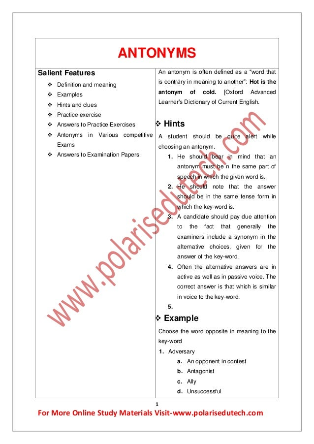 english synonyms and antonyms for bank exams pdf