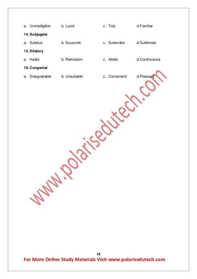 Antonyms-Study Materials for Bank,SSC exam