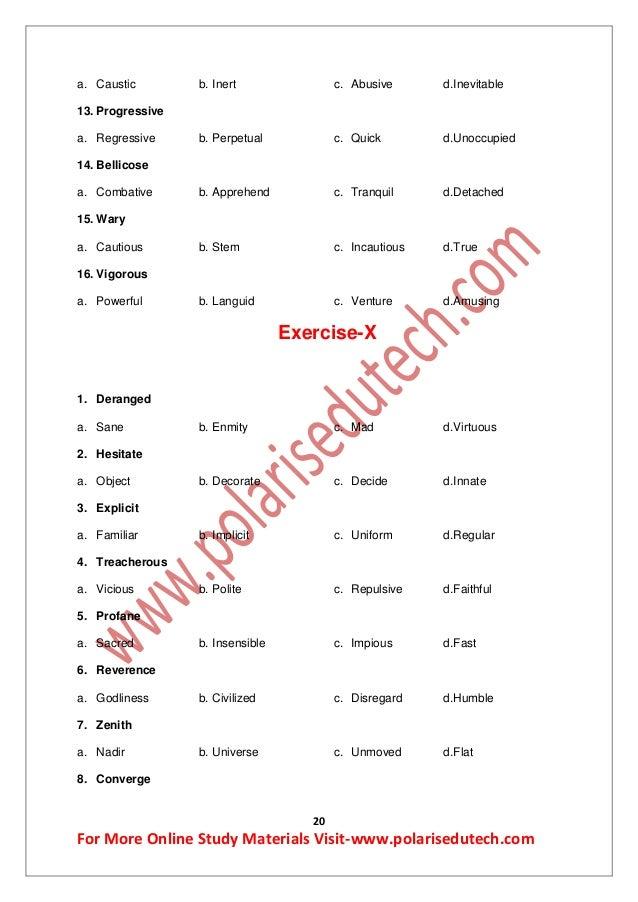 Printables 20 Antonyms antonyms study materials for bankssc exam 20